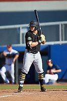 Mason Martin (3) of the Bristol Pirates at bat against the Danville Braves at American Legion Post 325 Field on July 1, 2018 in Danville, Virginia. The Braves defeated the Pirates 3-2 in 10 innings. (Brian Westerholt/Four Seam Images)