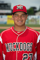 Batavia Muckdogs catcher Rodrigo Vigil (27) poses for a photo during media day on June 10, 2014 at Dwyer Stadium in Batavia, New York.  (Mike Janes/Four Seam Images)