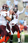 09 September 2006: Virginia Tech quarterback Sean Glennon (7) looks downfield towards teammate Josh Morgan (2). The University of North Carolina Tarheels lost 35-10 to the Virginia Tech Hokies at Kenan Stadium in Chapel Hill, North Carolina in an Atlantic Coast Conference NCAA Division I College Football game.