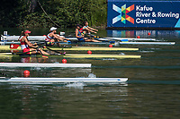 """Lucerne, SWITZERLAND, 13th July 2018, Friday Right, SUI W1X,  Jeannine GMELIN,  """"moves away"""" from the, start  in her heat of the """"Women's single sculls"""", at the, FISA World Cup series, No.3, Lake Rotsee, Lucerne, © Peter SPURRIER,"""