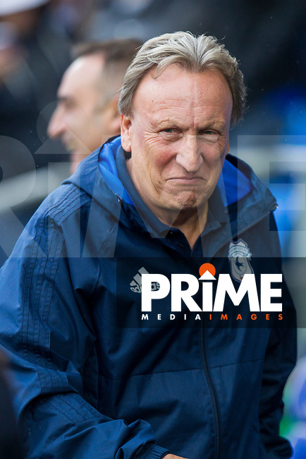 Cardiff City manager Neil Warnock ahead of the Sky Bet Championship match between Cardiff City and Sheffield Wednesday at Cardiff City Stadium, Cardiff, Wales on 16 September 2017. Photo by Mark  Hawkins / PRiME Media Images.