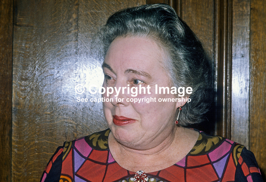 Lady Diana Glentoran, wife of Lord Glentoran, 2nd Baron, Templepatrick, N Ireland, 19750115031b.<br /> <br /> Copyright Image from Victor Patterson,<br /> 54 Dorchester Park, <br /> Belfast, UK, BT9 <br /> <br /> t1: +44 28 9066 1296 (from Rep of Ireland 048 90661296)<br /> t2: +44 28 9002 2446 (from Rep of Ireland 048 9002 2446)<br /> <br /> m: +44 7802 353836<br /> <br /> e: victorpatterson@me.com<br /> www.victorpatterson.com<br /> <br /> Please see my Terms and Conditions of Use at www.victorpatterson.com. It is IMPORTANT that you familiarise yourself with them.<br /> <br /> Images used on the Internet must be visibly watermarked i.e. &copy; Victor Patterson<br /> within the body of the image and copyright metadata must not be deleted. Images <br /> used on the Internet have a size restriction of 4kbs and will be chargeable at current<br />  NUJ rates unless agreed otherwise.<br /> <br /> This image is only available for the use of the download recipient i.e. television station, newspaper, magazine, book publisher, etc, and must not be passed on to any third <br /> party. It is also downloaded on condition that each and every usage is notified within 7 days to victorpatterson@me.com<br /> <br /> The right of Victor Patterson to be identified as the author is asserted in accordance with The Copyright Designs And Patents Act (1988). All moral rights are asserted.