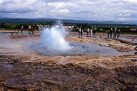 Iceland. Strokkur is one of Iceland's most famous geysirs, erupting regularly every 4-8 minutes.