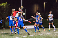 Allston, MA - Saturday Sept. 24, 2016: Libby Stout, Samantha Mewis, Alanna Kennedy during a regular season National Women's Soccer League (NWSL) match between the Boston Breakers and the Western New York Flash at Jordan Field.