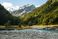 Trampers crossing Matukituki River at Pearl Flat, Mt. Aspiring National Park, Central Otago, World Heritage Area, South Island, New Zealand