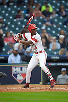Todd Lott (9) of the Louisiana Ragin' Cajuns at bat against the Vanderbilt Commodores in game five of the 2018 Shriners Hospitals for Children College Classic at Minute Maid Park on March 3, 2018 in Houston, Texas.  The Ragin' Cajuns defeated the Commodores 3-0.  (Brian Westerholt/Four Seam Images)