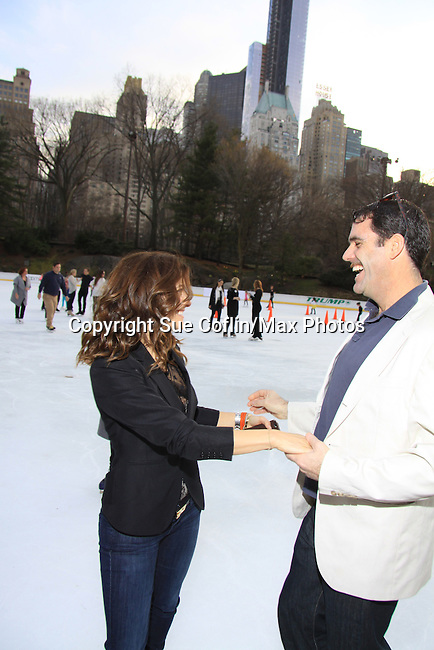 All My Children Rebecca Budig & Douglas Webster (artistic director Ice Theatre of New York) - The 2013 Skating with the Stars- a benefit gala for Figure Skating in Harlem on April 8, 2013 at Trump Wollman Rink, New York City, New York. (Photo by Sue Coflin/Max Photos)