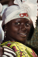Baleyara, Niger, West Africa.  Nigerien Woman with Headscarf. West African portraits of ethnic Hausa, Fulani, Zarma (Djerma), and others from Niger, Ivory Coast, and Burkina Faso. Tell us what you need.