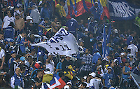 BOGOTÁ -COLOMBIA, 22-08-2015. Hinchas de Millonarios corean a su equipo durante el encuentro entre La Equidad y Millonarios por la fecha 8 de la Liga Águila II 2015 jugado en el estadio Metropolitano de Techo de la ciudad de Bogotá./ Fans of Millonarios cheer their team during the match between La Equidad and Millonarios for the 8th date of the Aguila League II 2015 played at Metropolitano de Techo stadium in Bogota city. Photo: VizzorImage/ Gabriel Aponte / Staff
