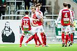 Stockholm 2015-03-01 Fotboll Svenska Cupen Hammarby IF - Landskrona BoIS :  <br /> Landskronas M&aring;rten Nordbeck firar sitt 1-0 m&aring;l med lagkamrater under matchen mellan Hammarby IF och Landskrona BoIS <br /> (Foto: Kenta J&ouml;nsson) Nyckelord:  Fotboll Svenska Cupen Cup Tele2 Arena Hammarby HIF Bajen Landskrona BOIS jubel gl&auml;dje lycka glad happy
