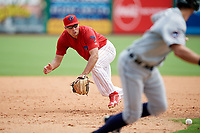Clearwater Threshers third baseman Damek Tomscha (21) fields a ground ball during the first game of a doubleheader against the Lakeland Flying Tigers on June 14, 2017 at Spectrum Field in Clearwater, Florida.  Lakeland defeated Clearwater 5-1.  (Mike Janes/Four Seam Images)