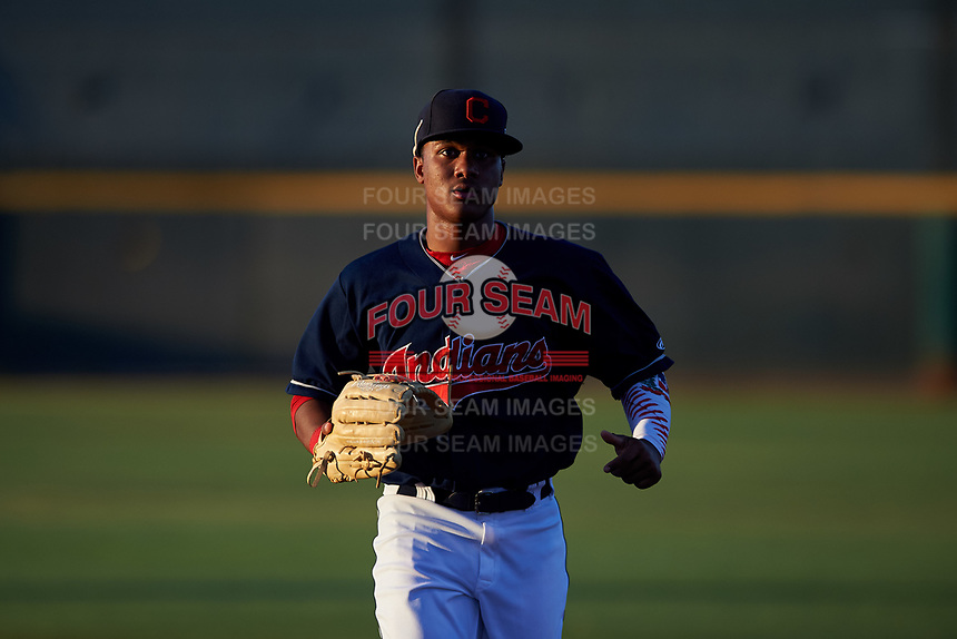 AZL Indians Red center fielder Marlin Made (22) jogs off the field between innings of an Arizona League game against the AZL Padres 1 on June 23, 2019 at the Cleveland Indians Training Complex in Goodyear, Arizona. AZL Indians Red defeated the AZL Padres 1 3-2. (Zachary Lucy/Four Seam Images)