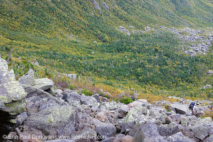 Hikers ascending the King Ravine Trail in King Ravine of the New Hampshire White Mountains.