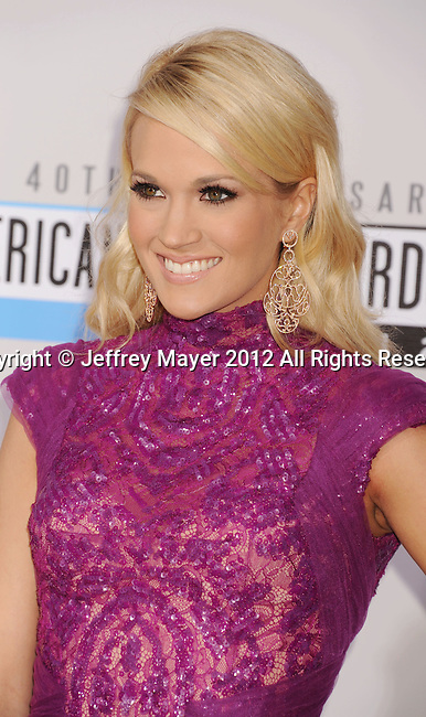 LOS ANGELES, CA - NOVEMBER 18: Carrie Underwood  attends the 40th Anniversary American Music Awards held at Nokia Theatre L.A. Live on November 18, 2012 in Los Angeles, California.