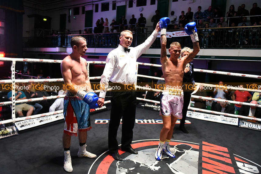 Sam Cox (white shorts) defeats Steven McGuire during a Boxing Show at York Hall on 7th September 2019