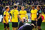 11.05.2019, Signal Iduna Park, Dortmund, GER, 1.FBL, Borussia Dortmund vs Fortuna Düsseldorf, DFL REGULATIONS PROHIBIT ANY USE OF PHOTOGRAPHS AS IMAGE SEQUENCES AND/OR QUASI-VIDEO<br /> <br /> im Bild | picture shows:<br /> Marwin Hitz (Borussia Dortmund #35) liegt nach einem Zusammenprall mit Dodi Lukebakio (Fortuna #20)  benommen um Strafraum und muss lange behandelt werden, der BVB um Mario Goetze (Borussia Dortmund #10) diskutiert mit Schiedsrichter | Referee Tobias Stieler, <br /> <br /> Foto © nordphoto / Rauch