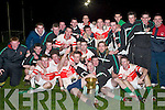 St Brendans u21 team celebrate after defeating Ballincollig in the Credit Union Duhallow Invitational Cup final in Knocknagree last Saturday night..