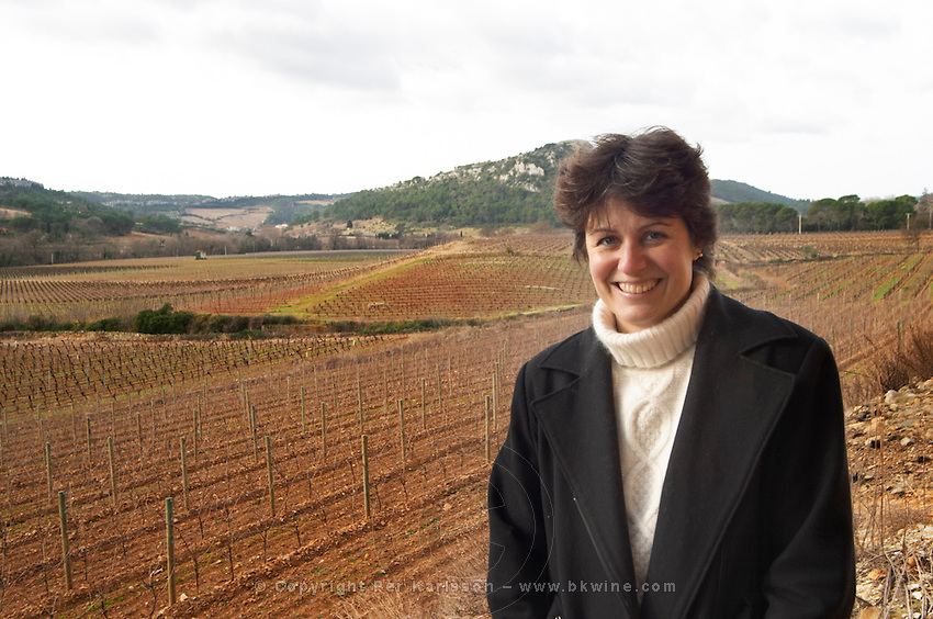 Christine Simon Clos Bagatelle St Chinian. Languedoc. Owner winemaker. The vineyard. France. Europe.