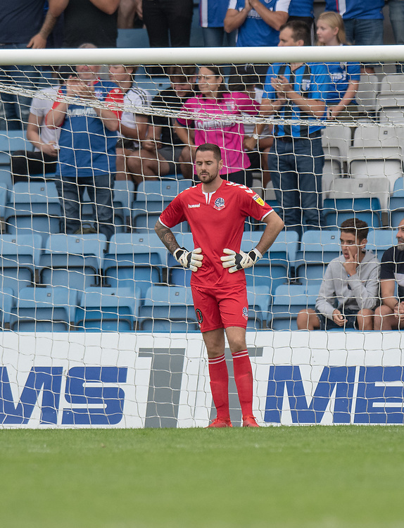 Bolton Wanderer's keeper Remi Matthews looks on int frustration after conceding a 4th goal<br /> <br /> Photographer David Horton/CameraSport<br /> <br /> The EFL Sky Bet League One - Gillingham v Bolton Wanderers - Saturday 31st August 2019 - Priestfield Stadium - Gillingham<br /> <br /> World Copyright © 2019 CameraSport. All rights reserved. 43 Linden Ave. Countesthorpe. Leicester. England. LE8 5PG - Tel: +44 (0) 116 277 4147 - admin@camerasport.com - www.camerasport.com