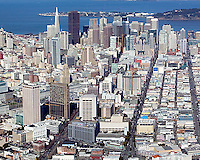 aerial photograph view down Mission Street skyscrapers San Francisco