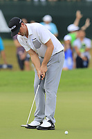 Keegan Bradley (USA) takes his putt on the 18th green during Saturday's Round 3 of the 2017 PGA Championship held at Quail Hollow Golf Club, Charlotte, North Carolina, USA. 12th August 2017.<br /> Picture: Eoin Clarke | Golffile<br /> <br /> <br /> All photos usage must carry mandatory copyright credit (&copy; Golffile | Eoin Clarke)