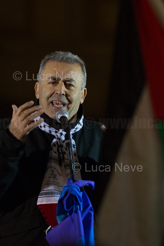 """Palestinian people representative.<br /> <br /> Rome, 25/01/2020. Today, Rete della Pace – supported by numerous organizations, including CGIL, ANPI and Libera – held a demonstration for Peace in Piazza dell'Esquilino called """"Spegniamo La Guerra, Accendiamo La Pace"""" (Let's turn off the war, let's turn on Peace, 1.).<br /> <br /> Footnotes & Links:<br /> 1. http://bit.do/fqxs9"""