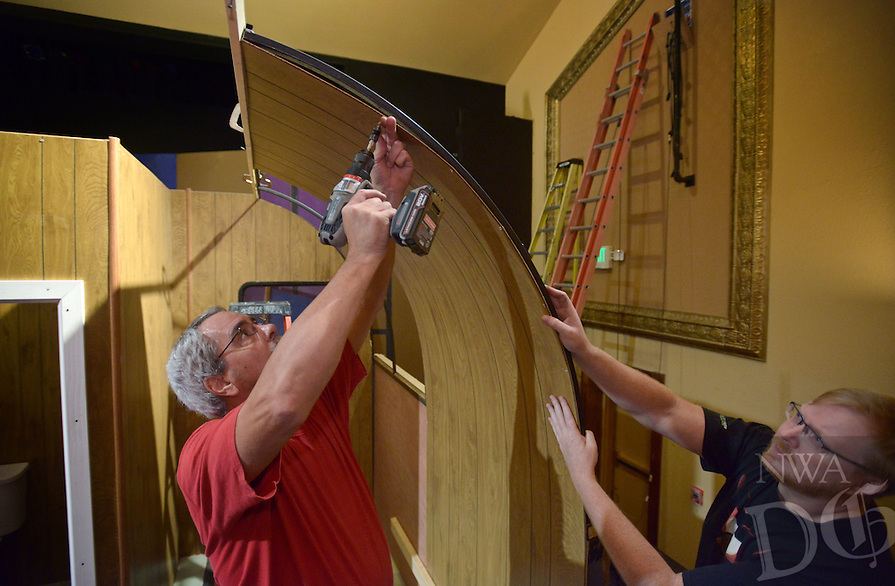 NWA Democrat-Gazette/BEN GOFF @NWABENGOFF<br /> Chad Wigington (right) and Jason Nemec, both of Rogers, help build a set of a trailer home on Sunday Oct. 10, 2016 as volunteers prepare for the Arkansas Public Theatre production of 'Annapurna' at the Victory Theater in downtown Rogers.  The play by Sharr White runs Nov. 4-6 and Nov. 10-13.