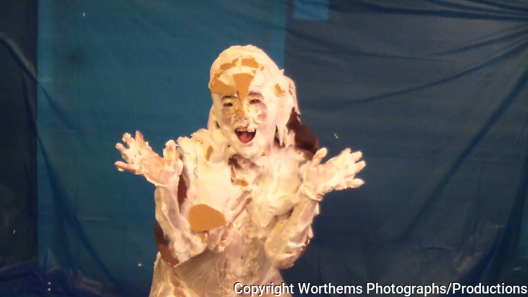 "Angel Rose celebrates a very special day 3.14 which stands for ""Pi"" which means ""Pi Day"" by getting covered in whipped cream pies."