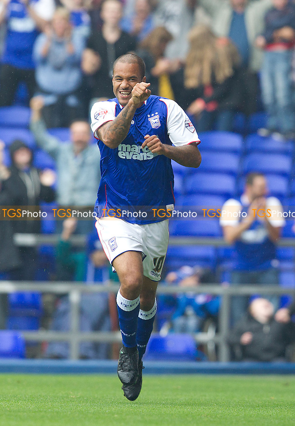 David McGoldrick of Ipswich Town turns to celebrate the opening goal - Ipswich Town vs Leeds United - Sky Bet Championship Football at Portman Road, Ipswich, Suffolk- 24/08/13 - MANDATORY CREDIT: Ray Lawrence/TGSPHOTO - Self billing applies where appropriate - 0845 094 6026 - contact@tgsphoto.co.uk - NO UNPAID USE