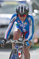 GEELONG, 29 SEPTEMBER - GUDERZO Tatiana (ITA) crossing Queens Park Rd bridge on the Women's time trial event at the 2010 UCI Road World Championships in Geelong, Victoria, Australia. (Photo Sydney Low / syd-low.com)