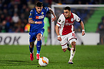 Mathias Olivera of Getafe FC and Sergino Dest of AFC Ajax during UEFA Europa League match between Getafe CF and AFC Ajax at Coliseum Alfonso Perez in Getafe, Spain. February 20, 2020. (ALTERPHOTOS/A. Perez Meca)