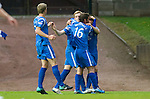 St Johnstone v Hamilton Accies...10.05.11.Liam Craig celebrates his penalty with Peter MacDonald, Chris Millar and Jamie Adams.Picture by Graeme Hart..Copyright Perthshire Picture Agency.Tel: 01738 623350  Mobile: 07990 594431