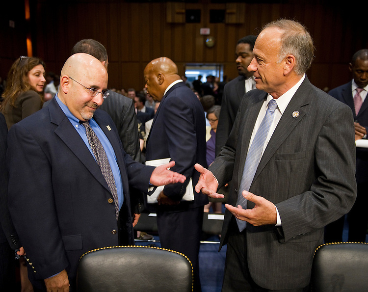 WASHINGTON, DC - July 20: Evan Wolfson, founder and executive director of Freedom to Marry, and Rep. Steve King, R-Iowa, talk before they testified during the Senate Judiciary Committee  hearing on proposals to repeal the Defense of Marriage Act (PL 104-199). (Photo by Scott J. Ferrell/Congressional Quarterly)