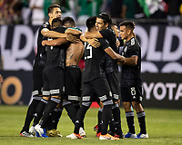 CHICAGO, IL - JULY 7: Mexican players celebrate their victory during a game between Mexico and USMNT at Soldier Field on July 7, 2019 in Chicago, Illinois.