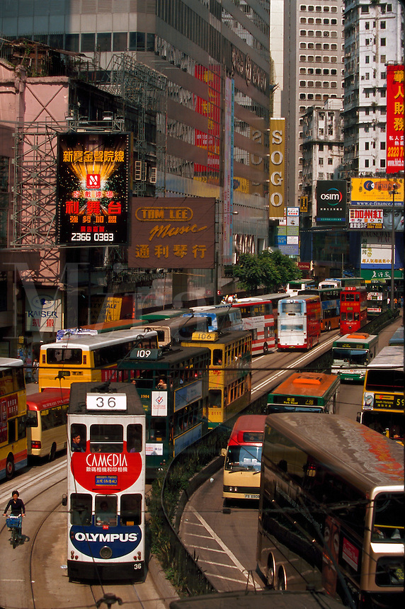 Double-decker trams, Hong Kong, China