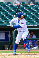 Iowa Cubs third baseman Trent Giambrone (6) at bat during a Pacific Coast League game against the San Antonio Missions on May 2, 2019 at Principal Park in Des Moines, Iowa. Iowa defeated San Antonio 8-6. (Brad Krause/Four Seam Images)