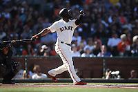 SAN FRANCISCO, CA - JULY 10:  Denard Span #2 of the San Francisco Giants bats against the Arizona Diamondbacks during the game at AT&T Park on Sunday, July 10, 2016 in San Francisco, California. Photo by Brad Mangin