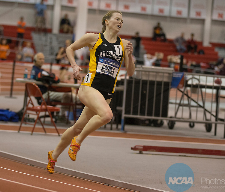 15 March 2014-Christy Cazzola competing for Wisconsin-Oshkosh competes in the women's 3000 meter run during the Div III Indoor Track and Field Championships at the Bob Devaney Sports Center in Lincoln, Nebraska. Cazzola won the event with a time of 4:51.47. Scott Bruhn/NCAA Photos