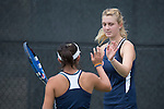 April 25, 2014; San Diego, CA, USA; Pepperdine Waves player Matea Cutura (right) and Alejandra Granillo (left) during the WCC Tennis Championships at Barnes Tennis Center.