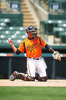 GCL Orioles catcher Alfredo Gonzalez (34) warms up the pitcher in between innings during a game against the GCL Twins on August 11, 2016 at the Ed Smith Stadium in Sarasota, Florida.  GCL Twins defeated GCL Orioles 4-3.  (Mike Janes/Four Seam Images)