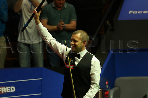 29.04.2015. Sheffield, England. Barry Hawkins completes the Semi-Final line-up after a thrilling 13-12 victory over Neil Robertson at the Betfred World Snooker Championship at the Crucible theatre.