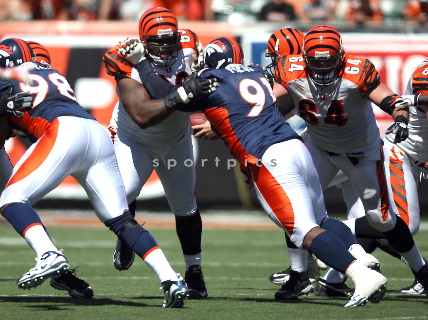 KYLE COOK,of the Cincinnati Bengals, in actions during the Bengals  game against the Denver Broncos  on September 13, 2009 in Cincinnati, OH  The Broncos beat the Bengals 12-7.