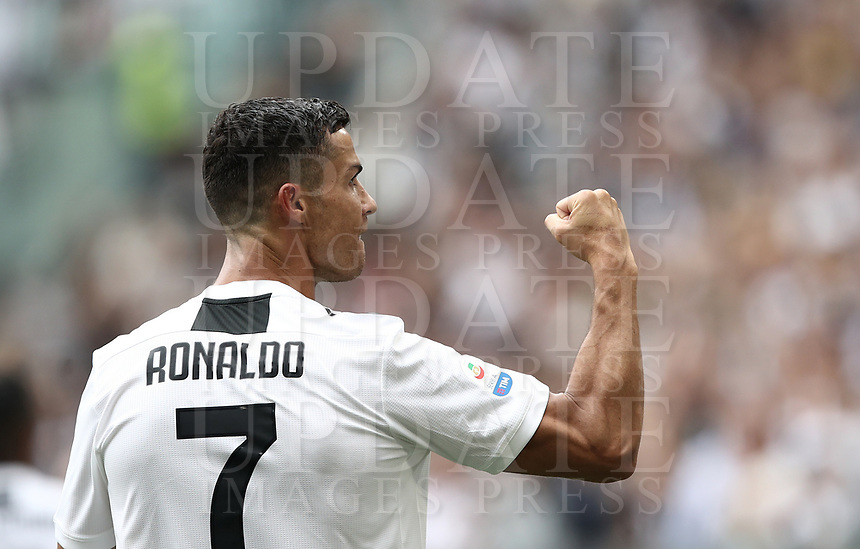 Calcio, Serie A: Juventus - Sassuolo, Turin, Allianz Stadium, September 16, 2018.<br /> Juventus' Cristiano Ronaldo celebrates after scoring his first goal during the Italian Serie A football match between Juventus and  Sassuolo at Torino's Allianz stadium, September 16, 2018.<br /> UPDATE IMAGES PRESS/Isabella Bonotto
