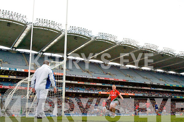 James ODonoghue Kerry (not in frame) scores a goal against Mayo in the National Football League Semi Final at Croke Park on Sunday.