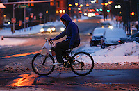 A man ride his bike in Jersey City as winter storm hits the tri-state area causing significant delays at airports in the region. Last month was coldest February in New York City since 1869. Mar 01,2015. Eduardo Munoz/VIEWpress.