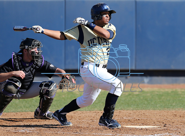 UC Davis' Steven Patterson at bat in a college baseball game between the Washington Huskies and the UC Davis Aggies in Davis, Ca., on Sunday, Feb. 17, 2013. Davis won 7-5 to finish their season opening series 3-1. .Photo by Cathleen Allison