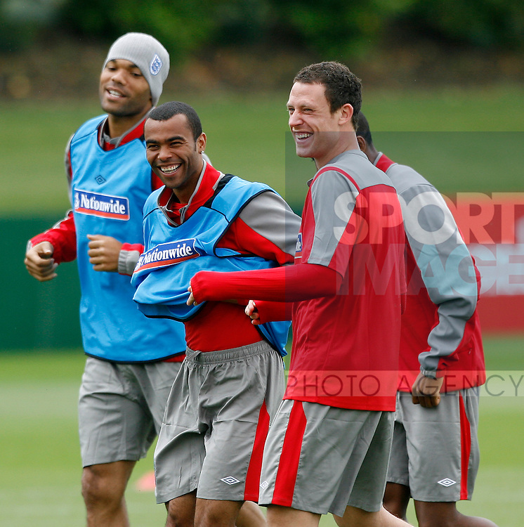 England's Ashley Cole and Wayne Bridge share a joke