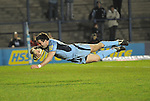 Dafydd Hewitt dives to score. Cardiff Blues V Glasgow Warriors, Magners league. © Ian Cook IJC Photography iancook@ijcphotography.co.uk www.ijcphotography.co.uk