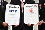 , <br /> JUNE 15, 2015 : <br /> JAL and ANA has Press conference in Tokyo. <br /> JAL and ANA announced that it has entered into a partnership agreement with the Tokyo Organising Committee of the Olympic and Paralympic Games. With this agreement, JAL and ANA becomes the official partner. <br /> (Photo by AFLO SPORT)