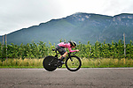 Race leader Maglia Rosa Simon Yates (GBR) Mitchelton-Scott in action during Stage 16 of the 2018 Giro d'Italia, a 34.2km individual time-trial from Trento to Rovereto the stage is a pivotal moment in the fight for the Corsa Rosa's GC, Italy. 21st May 2018.<br /> Picture: LaPresse/Fabio Ferrari | Cyclefile<br /> <br /> <br /> All photos usage must carry mandatory copyright credit (&copy; Cyclefile | LaPresse/Fabio Ferrari)
